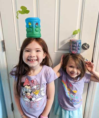 Kids Recycled Bottle Flower Pots