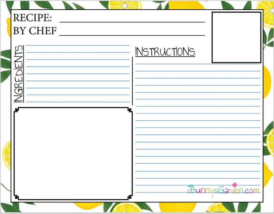 Free Printable Recipe Pages For Kids Cookbook Bunny S Garden