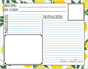 Free Printable Recipe Pages for Kids' Cookbook