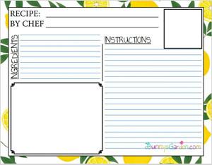 Lemon Themed Recipe Card - Printable Recipe Card