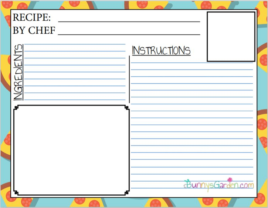 Pizza Themed Recipe Card - Printable Recipe Card