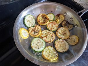 Seared Grilled Summer Squash and Zucchini Leftovers in Frying Pan