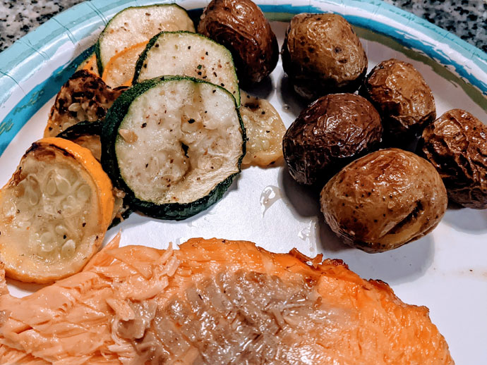 Grilled Summer Squash and Zucchini with Salmon and Roasted Potatoes