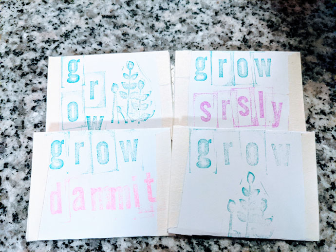 Homemade Paper Seed Envelopes - Grow SRSLY and Grow Dammit and Grow with Plant Stamps