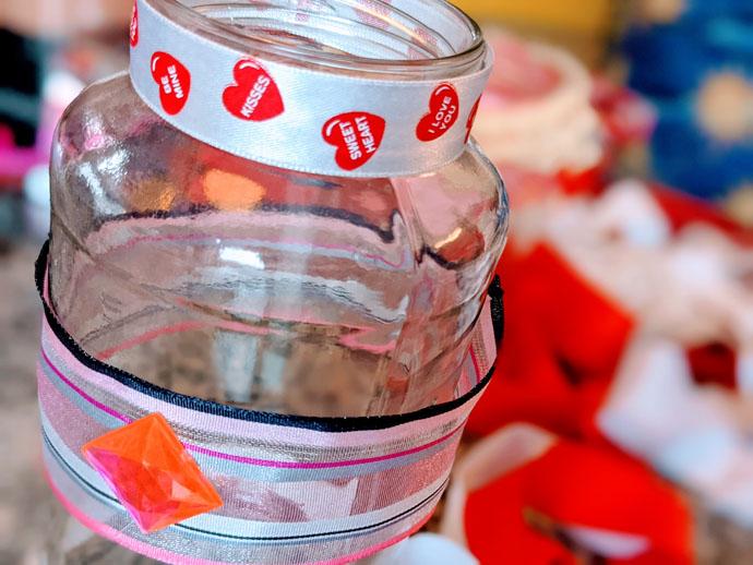 Kids Valentine's Vase Craft with Fancy Heart Ribbon, Rhinestone Gems