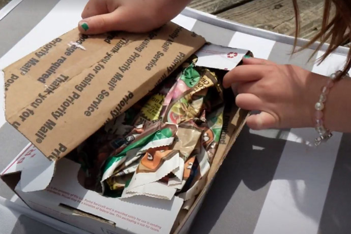How to Mail a Package without Going to the Post Office - Little Girl's hands a box of seeds for a seed swap