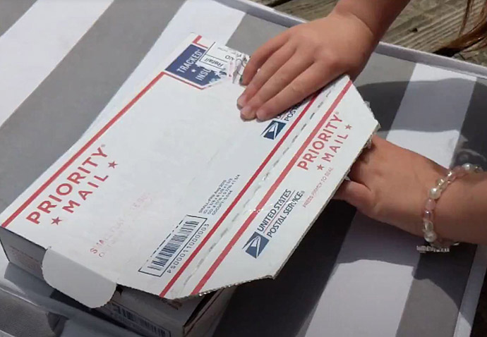 Send Priority Mail from Home - Girl's Hands on a Priority Mail Small Flat Rate Box