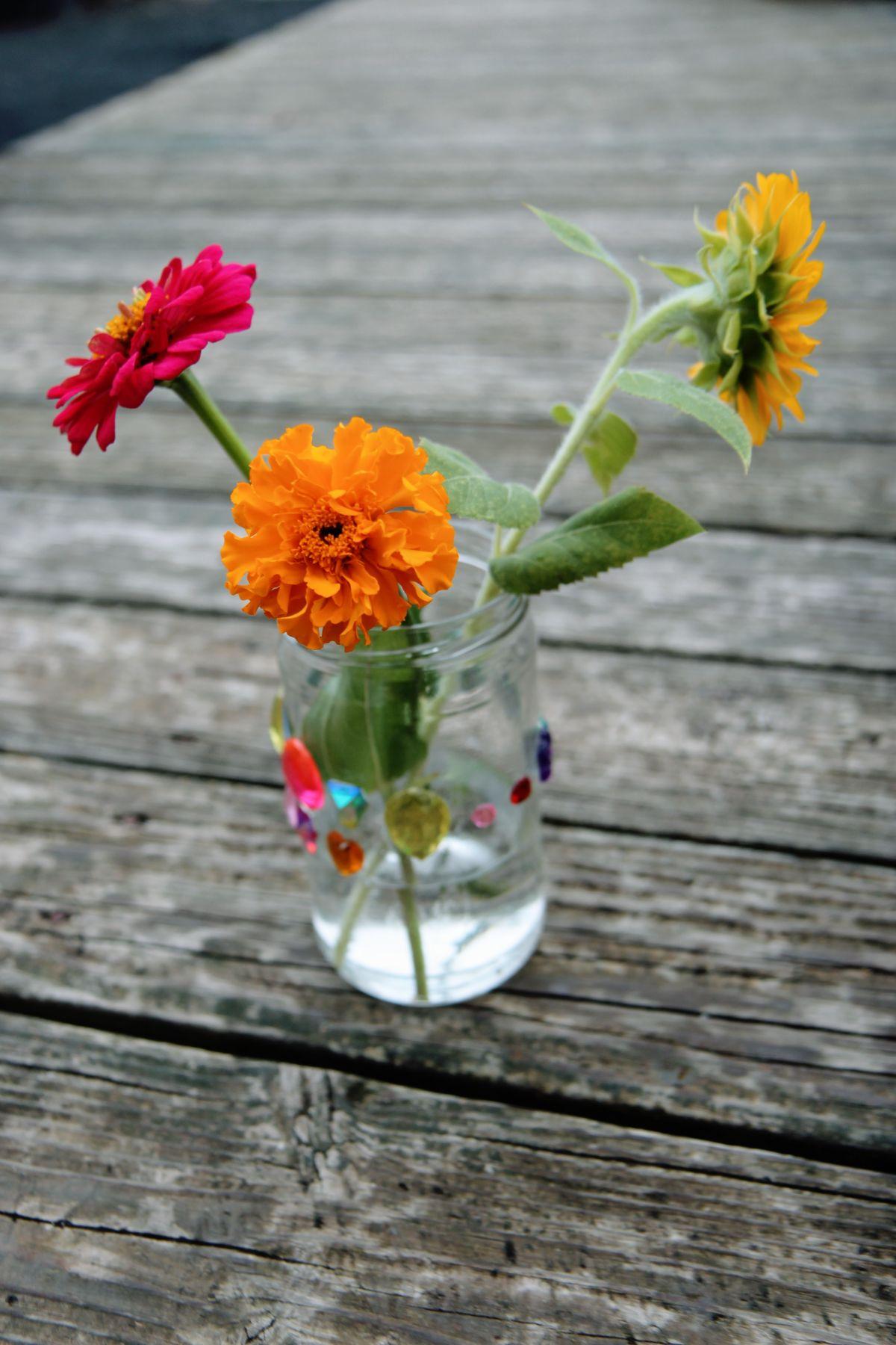 Deadhead Marigolds - Beautiful Summer Flower Vase with Orange Marigold, Pink Zinnia, Dwarf Sunflower