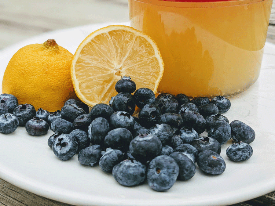 Fresh Blueberries, Lemons, and Fresh-Squeezed Lemon Juice on a White Plate