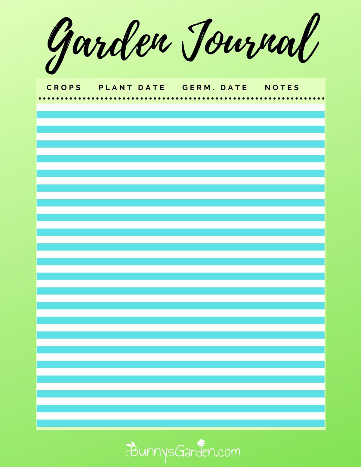 Free Printable Garden Journal Pages - Planting Dates and Germination Notes