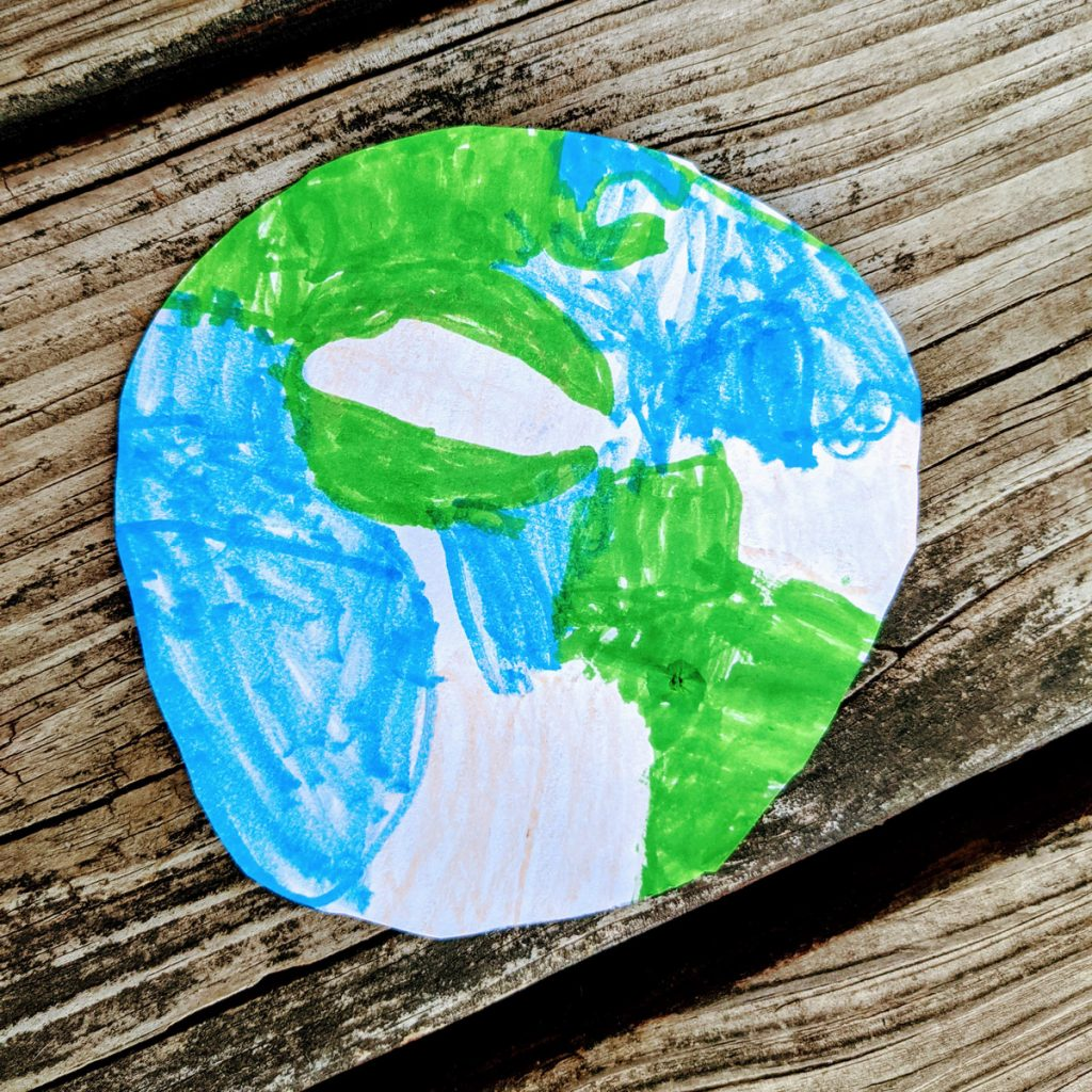 Things to Do for Earth Day - Child's Earth Drawing on Wooden Deck