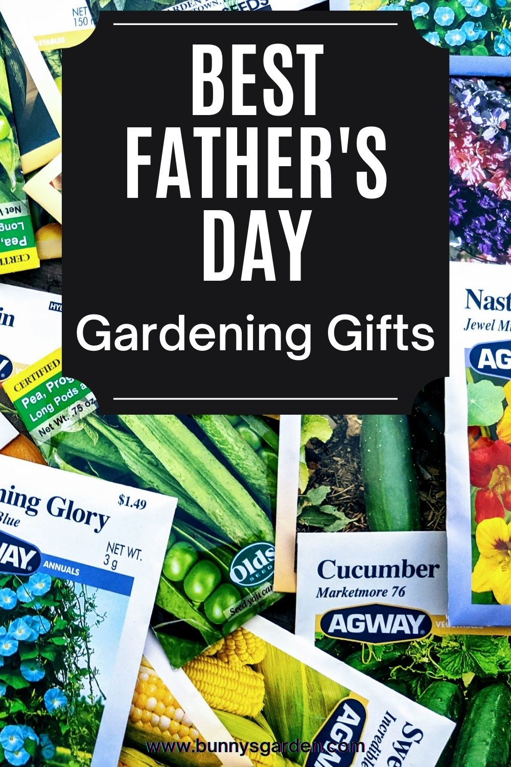 Best Father's Day Gardening Gifts - Seed packets background on pinterest image