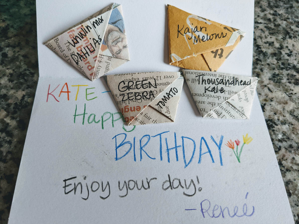 Origami cup Seed Envelopes with a Birthday Card
