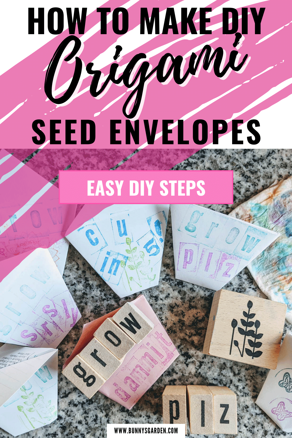 DIY Easy Origami Seed Cups / Envelopes | How To - pinterest image with rubber stampers and paper origami cups