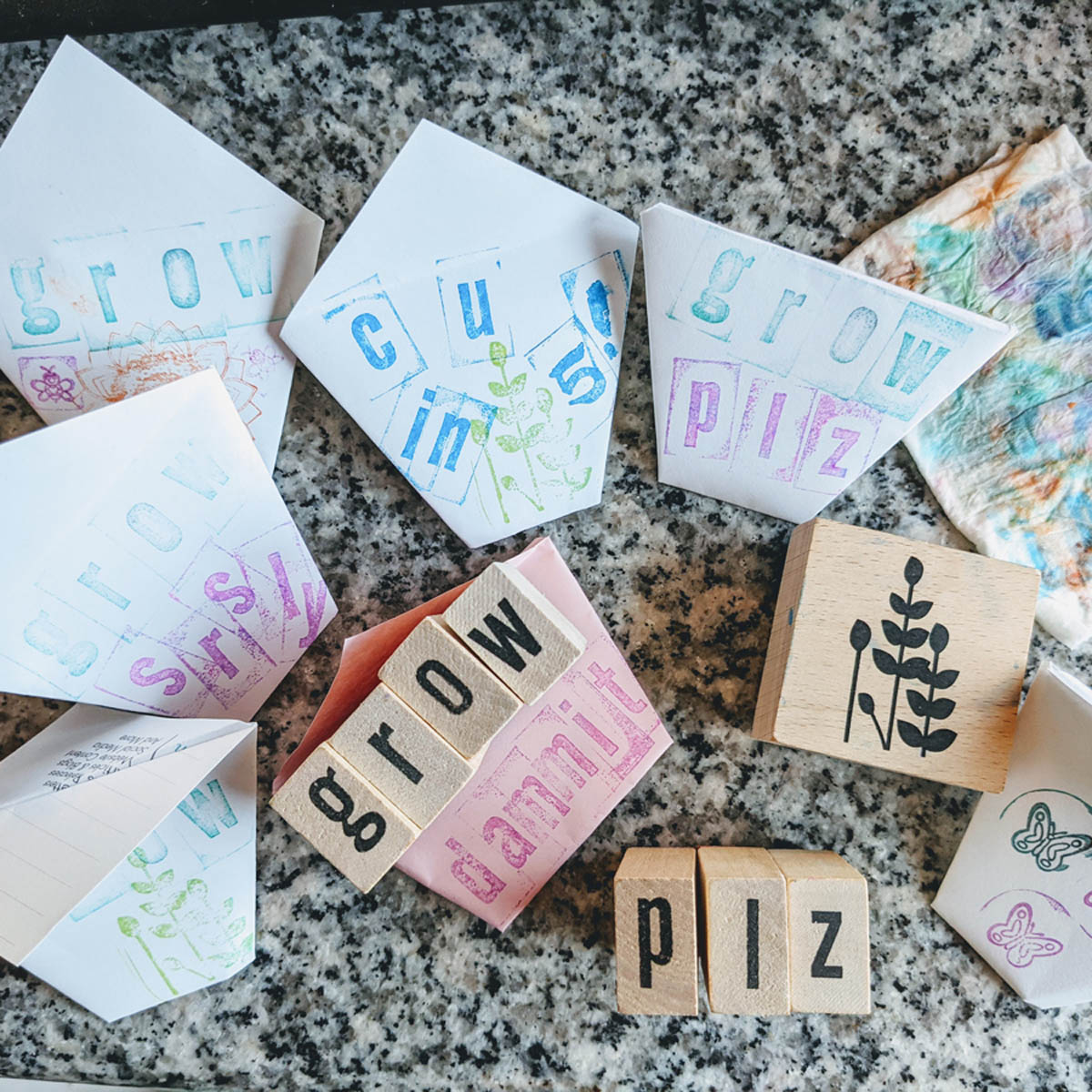 Lovely Stamped Easy Origami Seed Envelopes / Seed Cups with rubber stampers