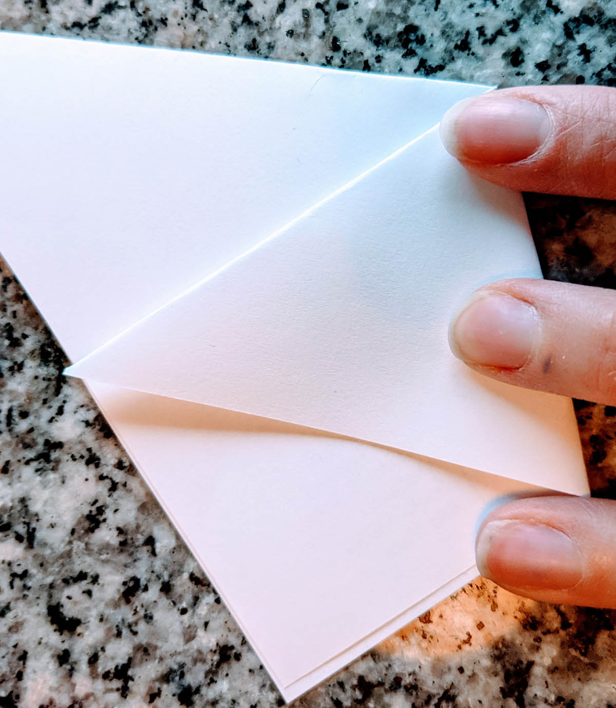 Folding an origami cup to use as a seed envelope