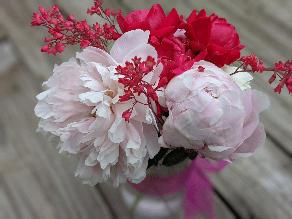 Bouquet of peonies and roses I made for my bestie