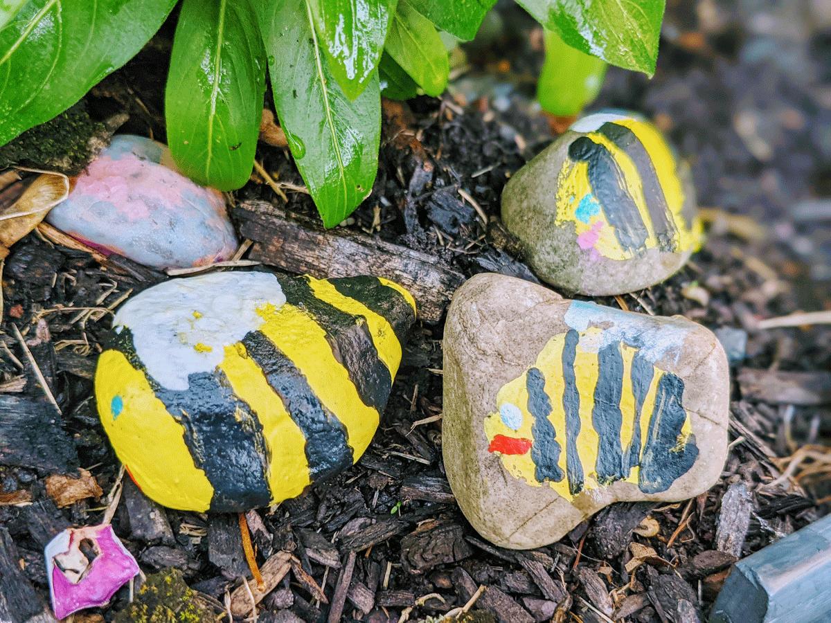 Bumble Bee Art Preschool - Painted Rocks for the Garden