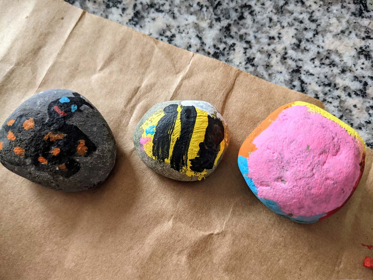 Butterfly and Bee Painted Rocks